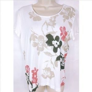 Chico's Women's Blouse Size 1 White Floral